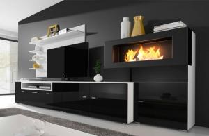 Mueble de salón con chimenea integrada